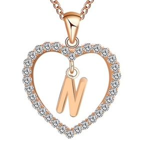 Jewelry - Gold Letter N Initial Pave Crystal Heart Necklace